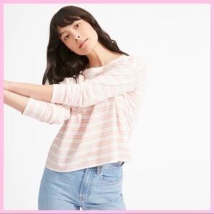 EVERLANE | Pink Striped Boxy Cut Pocket T-Shirt